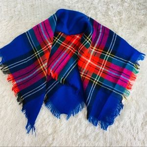 Bright Plaid Fringe Scarf Blue Red Green Pink